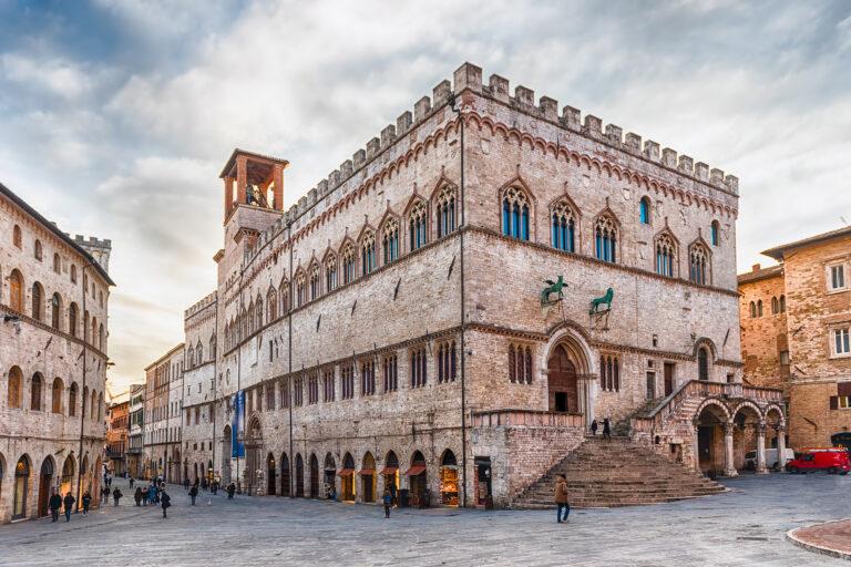 View of Palazzo dei Priori, historical building in the city centre of Perugia, Italy