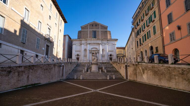 Plebiscito square (or Pope square) with San Domenico Church in Ancona. Marche Region, Italy.