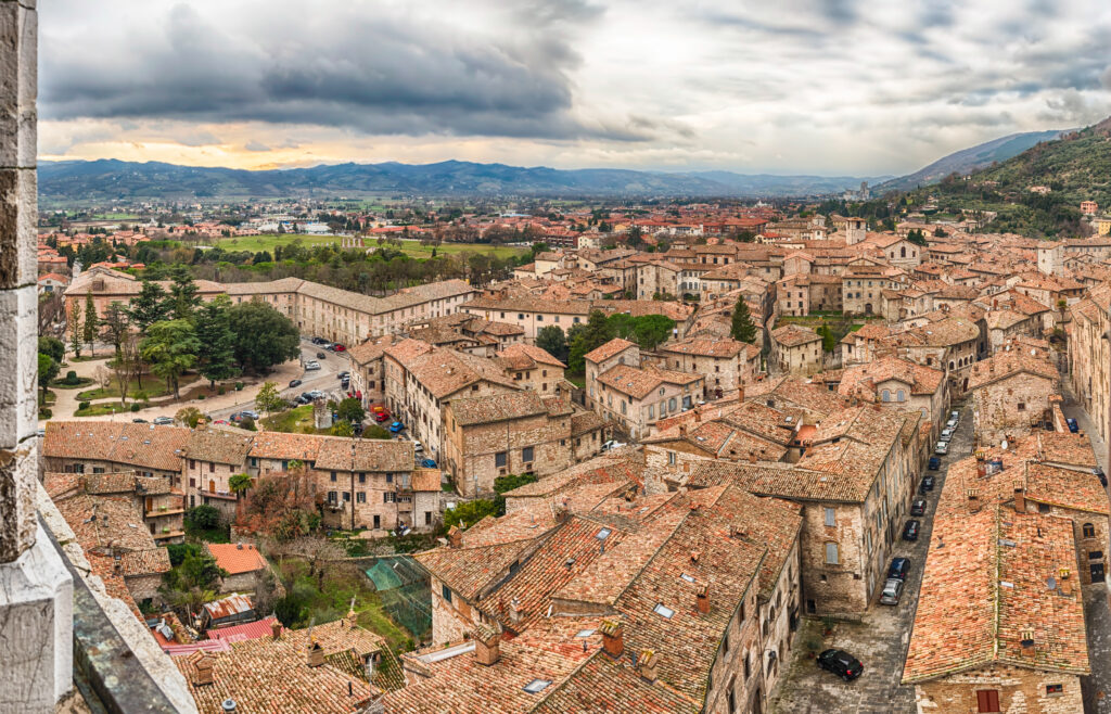 Panoramic view over the roofs of Gubbio, one of the most beautiful medieval towns in central Italy