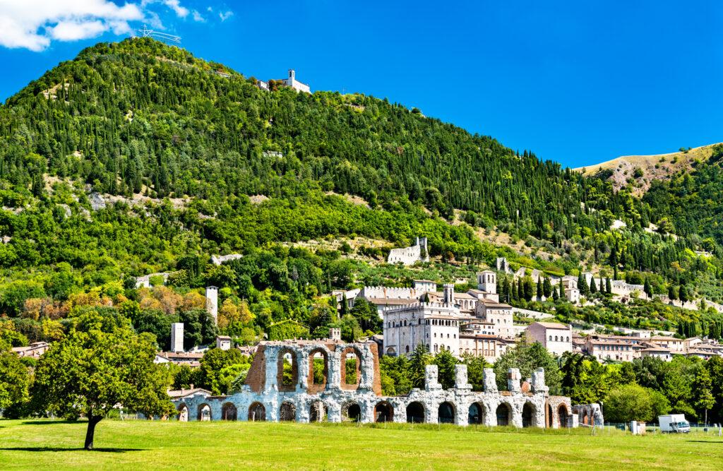 View of Gubbio with roman theatre in Umbria, Italy